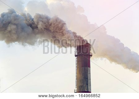 Smoking Pipes Of Thermal Power Plant Emitting Carbon Dioxide