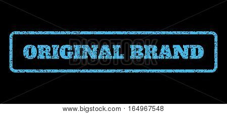 Light Blue rubber seal stamp with Original Brand text. Vector message inside rounded rectangular frame. Grunge design and dust texture for watermark labels. Horisontal emblem on a black background.