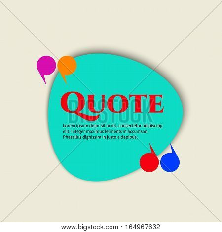 Vector quote boxes with text isolated. Commas message blank template bubble form Brackets quotation marks