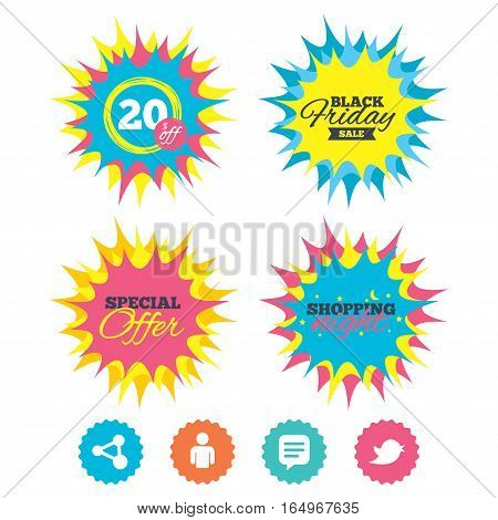 Shopping night, black friday stickers. Human person and share icons. Speech bubble symbols. Communication signs. Special offer. Vector
