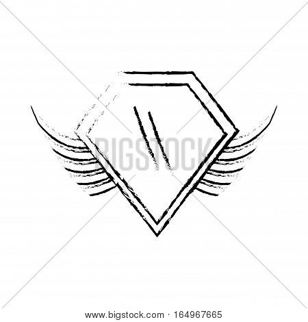 shield insignia military winged sketch vector illustration eps 10