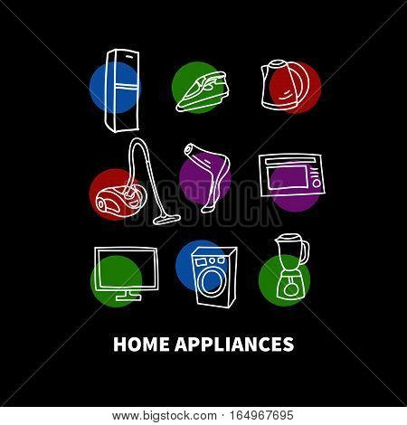 Hand drawn home appliances - fridge, hairdryer, TV, blender, iron, washing machine, refrigerator, vacuum cleaner, kettle. Vector doodles. Scratched elements.