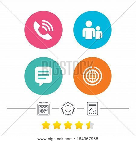Group of people and share icons. Speech bubble and round the world arrow symbols. Communication signs. Calendar, cogwheel and report linear icons. Star vote ranking. Vector