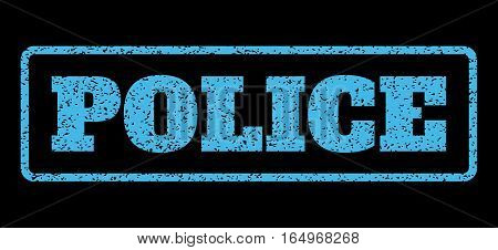 Light Blue rubber seal stamp with Police text. Vector tag inside rounded rectangular frame. Grunge design and scratched texture for watermark labels. Horisontal sign on a black background.