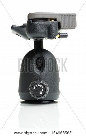 Closeup friction control knob on ball head of tripod
