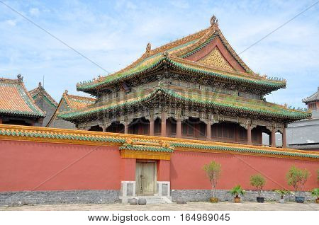 Jingdian Pavilion in Shenyang Imperial Palace (Mukden Palace), Shenyang, Liaoning, China. Shenyang Imperial Palace is UNESCO world heritage site built in 400 years ago.