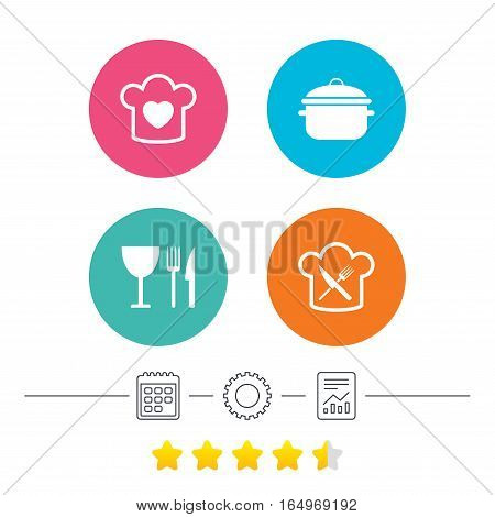 Chief hat with heart and cooking pan icons. Crosswise fork and knife signs. Boil or stew food symbol. Calendar, cogwheel and report linear icons. Star vote ranking. Vector