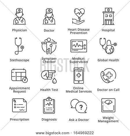 Medical & Health Care Icons Set 1 - Outline Series