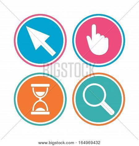 Mouse cursor and hand pointer icons. Hourglass and magnifier glass navigation sign symbols. Colored circle buttons. Vector