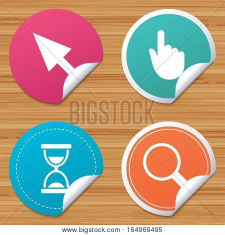 Round stickers or website banners. Mouse cursor and hand pointer icons. Hourglass and magnifier glass navigation sign symbols. Circle badges with bended corner. Vector