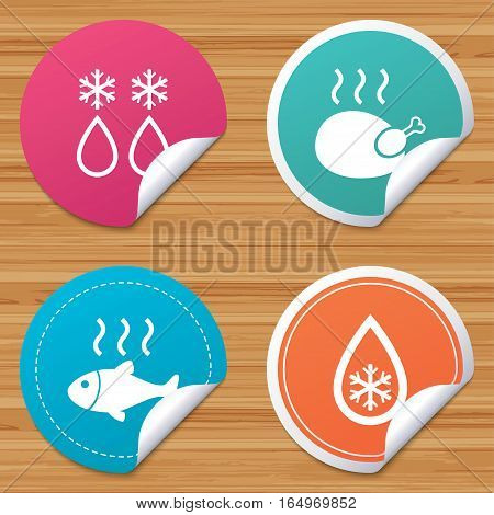 Round stickers or website banners. Defrosting drop and snowflake icons. Hot fish and chicken signs. From ice to water symbol. Circle badges with bended corner. Vector