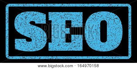 Light Blue rubber seal stamp with Seo text. Vector tag inside rounded rectangular banner. Grunge design and scratched texture for watermark labels. Horisontal sign on a black background.