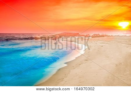 sunset at sea rayong thailand nature background
