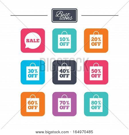 Sale discounts icons. Special offer signs. Shopping bag, price tag symbols. Colorful flat square buttons with icons. Vector