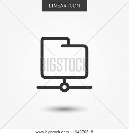 Folder icon vector illustration. Isolated ftp data symbol. Server folder line concept. Web storage graphic design. Web folder outline symbol for app. Folder pictogram on grey background.
