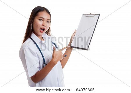 Angry Asian Young Female Doctor Point To Blank Clipboard.