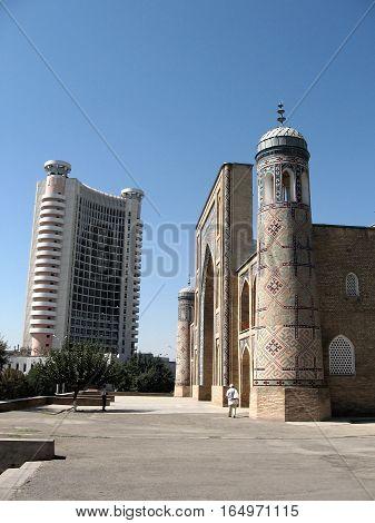Kukeldash Madrassah and modern building in Tashkent Uzbekistan September 13 2007