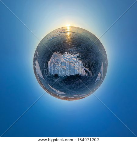 Spherical Panorama Of The Sunrise On The Island Of Olkhon, Snowy Spot On The Ice Of Lake Baikal