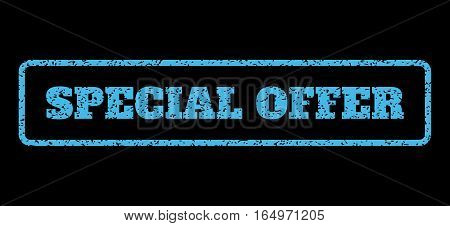 Light Blue rubber seal stamp with Special Offer text. Vector tag inside rounded rectangular shape. Grunge design and scratched texture for watermark labels. Horisontal sign on a black background.