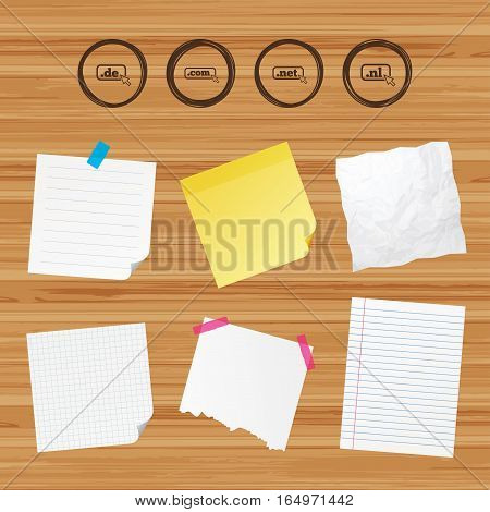 Business paper banners with notes. Top-level internet domain icons. De, Com, Net and Nl symbols with cursor pointer. Unique national DNS names. Sticky colorful tape. Vector