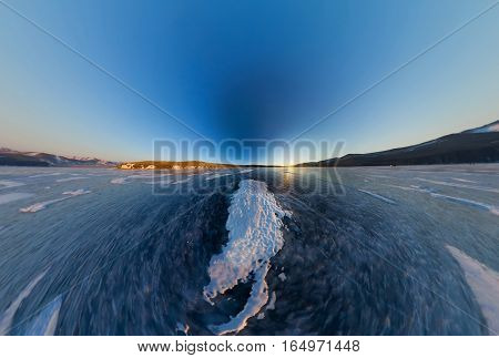 Sunrise On The Island Of Olkhon, Snowy Spot On The Ice Of Lake Baikal