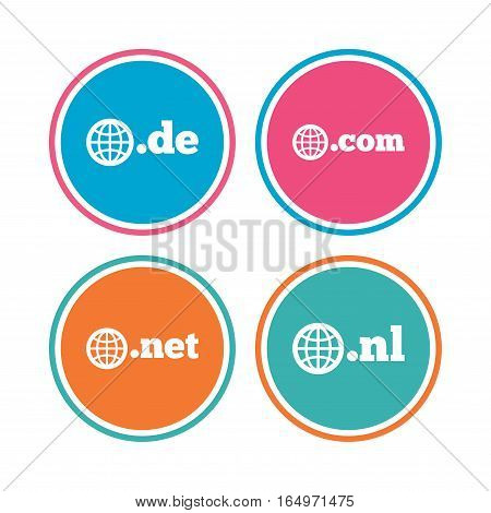 Top-level internet domain icons. De, Com, Net and Nl symbols with globe. Unique national DNS names. Colored circle buttons. Vector
