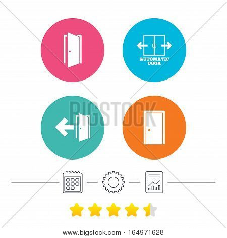 Automatic door icon. Emergency exit with arrow symbols. Fire exit signs. Calendar, cogwheel and report linear icons. Star vote ranking. Vector