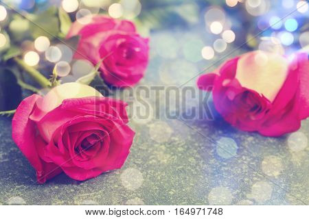 Beautiful pink roses and gerberas. Toned image