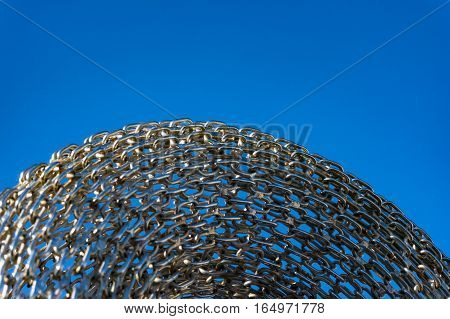 Abstract Metal Chain Links On Blue Background