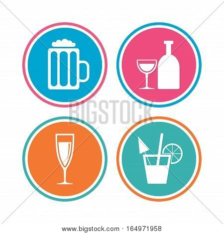 Alcoholic drinks icons. Champagne sparkling wine and beer symbols. Wine glass and cocktail signs. Colored circle buttons. Vector