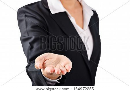 Business woman in black suit open palm hand for show something. Isolated on white background Saved clipping path.