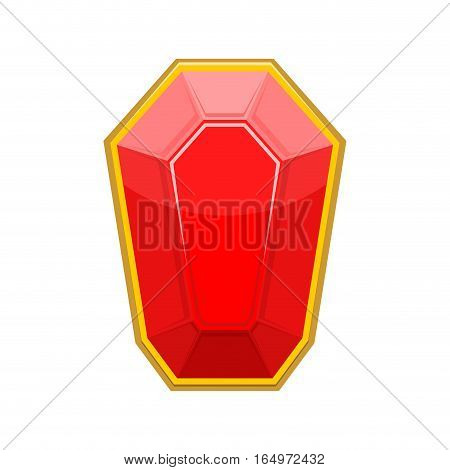 Ruby Gemstone Isolated. Jewelry Red Stone On White Background