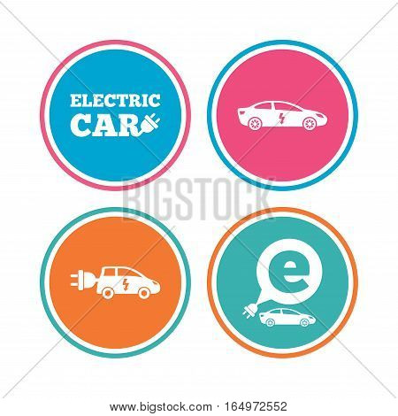 Electric car icons. Sedan and Hatchback transport symbols. Eco fuel vehicles signs. Colored circle buttons. Vector