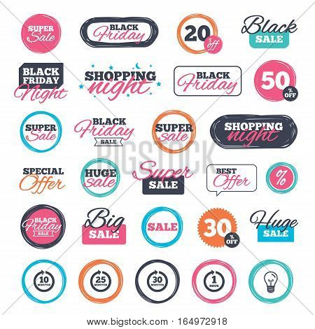 Sale shopping stickers and banners. Every 10, 25, 30 minutes and 1 hour icons. Full rotation arrow symbols. Iterative process signs. Website badges. Black friday. Vector