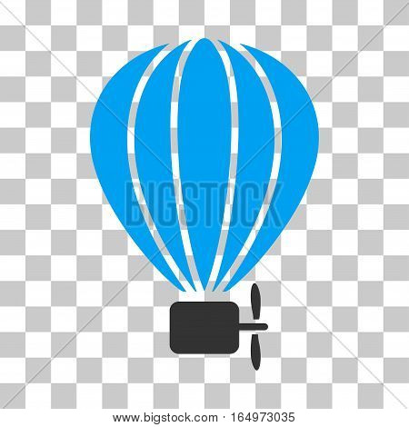 Aerostat Balloon vector icon. Illustration style is flat iconic bicolor blue and gray symbol on a transparent background.