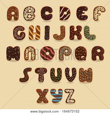 Chocolate Donuts font. Artistic alphabet. Signs as brown chocolate donuts with colorful cream. illustration