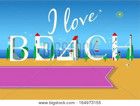 I love beach. Travel card. White buildings on the summer beach. Pink banner for custom text. Plane in the sky.