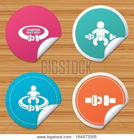 Round stickers or website banners. Fasten seat belt icons. Child safety in accident symbols. Vehicle safety belt signs. Circle badges with bended corner. Vector