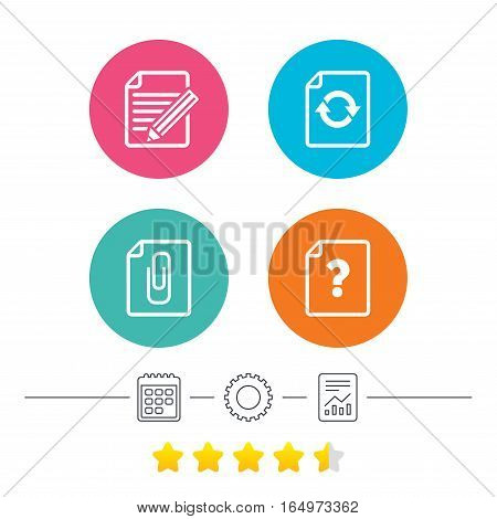 File refresh icons. Question help and pencil edit symbols. Paper clip attach sign. Calendar, cogwheel and report linear icons. Star vote ranking. Vector
