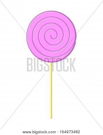 Lollipop Pink On Stick Isolated. Candy On White Background. Sweetness