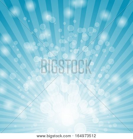 Abstract bokeh on blue background, stock vector