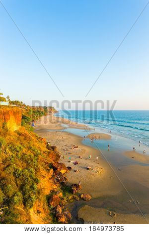 Varkala Beach Cliffs View Ocean Low Tide V