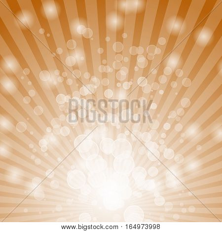 Abstract bokeh on orange background, stock vector