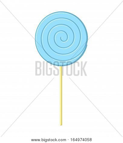 Lollipop Blue On Stick Isolated. Candy On White Background. Sweetness