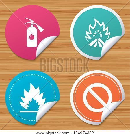 Round stickers or website banners. Fire flame icons. Fire extinguisher sign. Prohibition stop symbol. Circle badges with bended corner. Vector