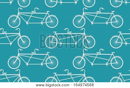 Tandem Bicycle Seamless Pattern. White Vintage Bike Blue Background