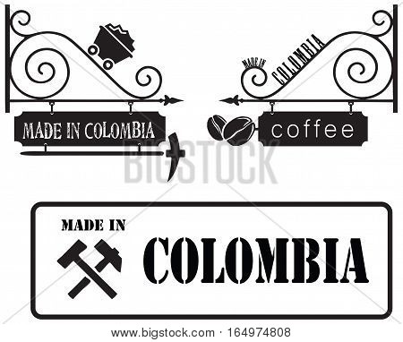 Colombia Industrial symbols made in Colombia. Primary production - coal mining and the cultivation of coffee.