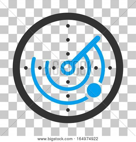 Radar vector icon. Illustration style is flat iconic bicolor blue and gray symbol on a transparent background.