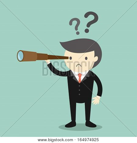 Business concept, Boss/Businessman using his telescope looking for something. Vector illustration