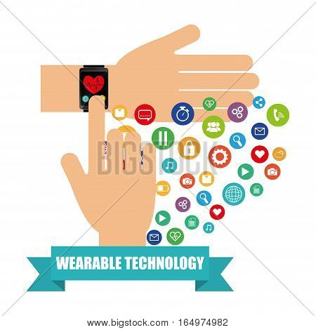 hand smart watch health electronic wearable technology vector illustration eps 10